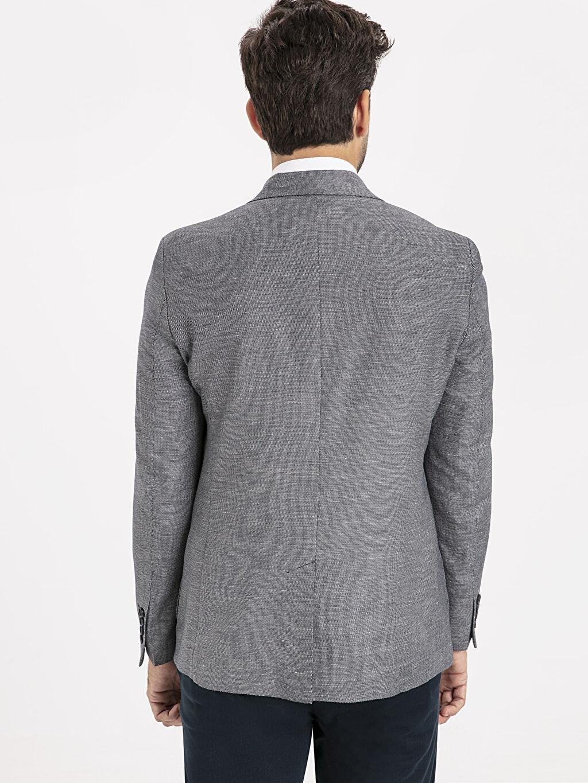 %52 Poliester %20 Keten %28 Viskoz Blazer Ceket Standart Yarım Astar Baskılı Standart Kalıp Blazer Ceket