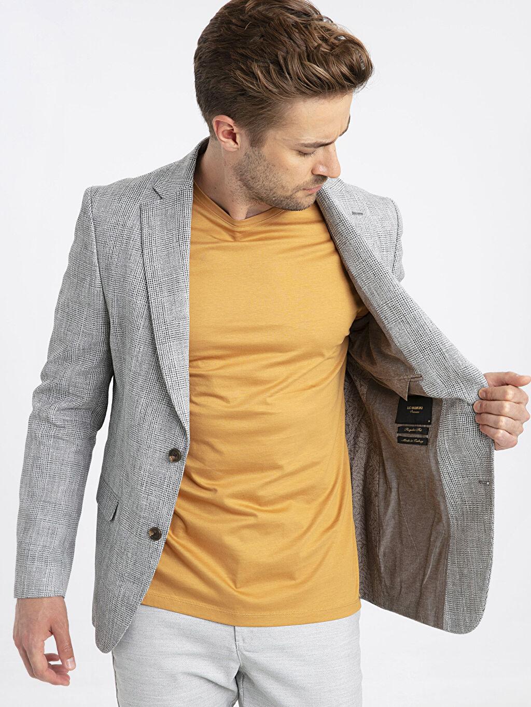 Erkek Standar Kalıp Ekose Blazer Ceket