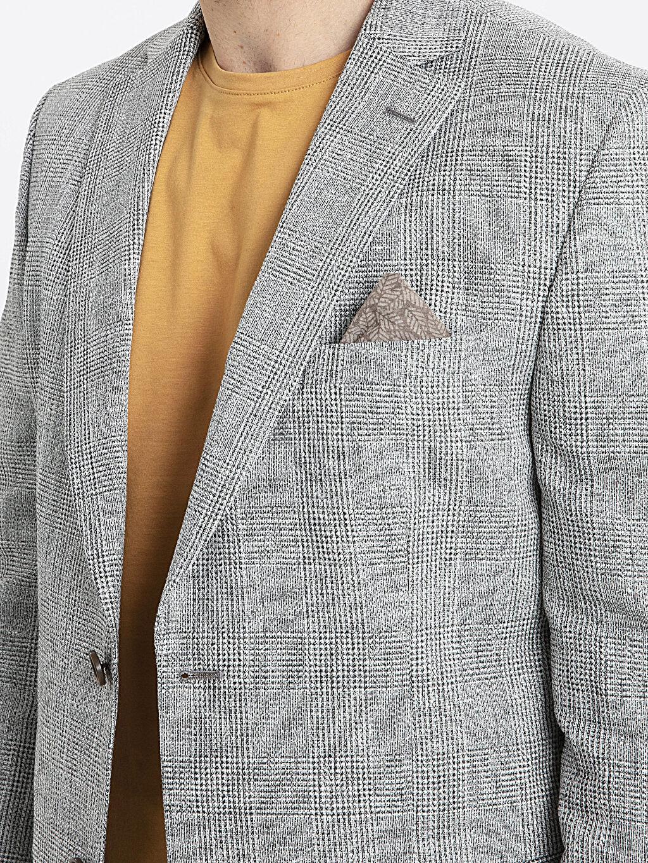 Bej Standar Kalıp Ekose Blazer Ceket