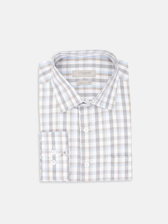 %55 Pamuk %45 Polyester Uzun Kol Gömlek Ekose Standart Gömlek Yaka Regular Fit Ekose Uzun Kollu Gömlek