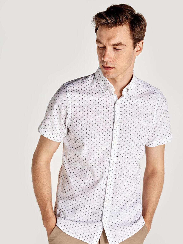 Beyaz Slim Fit Baskılı Kısa Kollu Poplin Gömlek 9SP756Z8 LC Waikiki