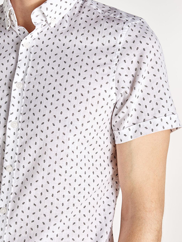 %100 Pamuk Slim Fit Baskılı Kısa Kollu Poplin Gömlek