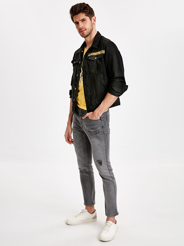 Erkek Standart Kalıp Kısa Jean Ceket