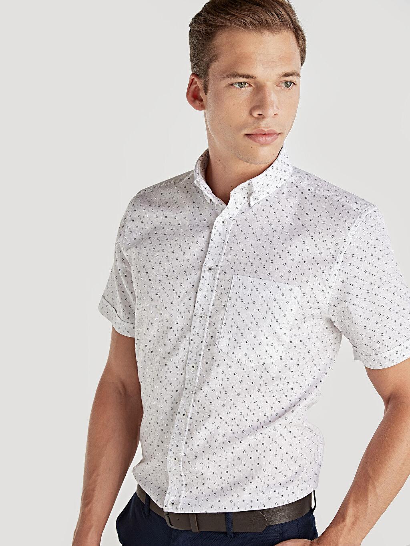 Beyaz Regular Fit Baskılı Kısa Kollu Oxford Gömlek 9ST109Z8 LC Waikiki