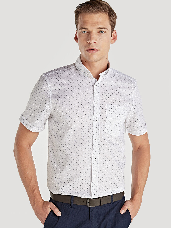 %100 Pamuk %100 Pamuk Kısa Kol Oxford Düğmeli Gömlek Yaka Gömlek Standart Baskılı Regular Fit Baskılı Kısa Kollu Oxford Gömlek