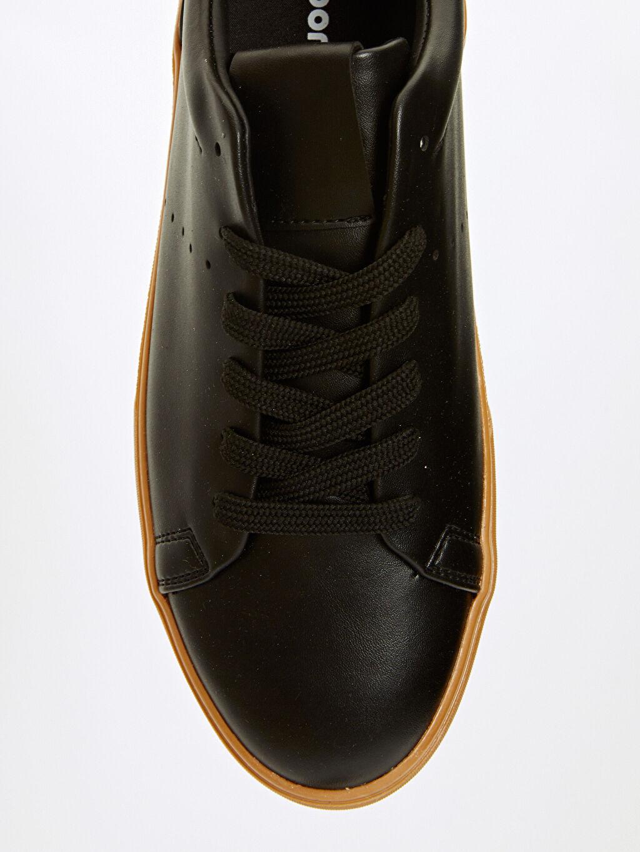 Siyah Letoon Erkek Deri Görünümlü Ayakkabı