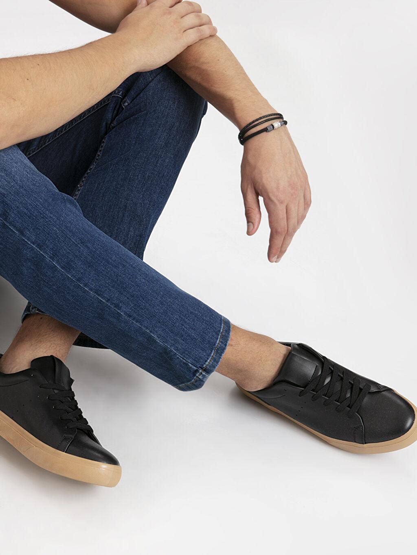 Siyah Letoon Erkek Deri Görünümlü Ayakkabı 9SA064Z8 LC Waikiki
