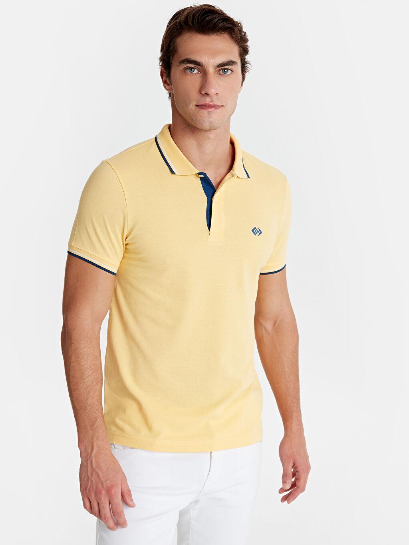 Sarı Slim Fit Polo Yaka Pike Tişört 9SA408Z8 LC Waikiki