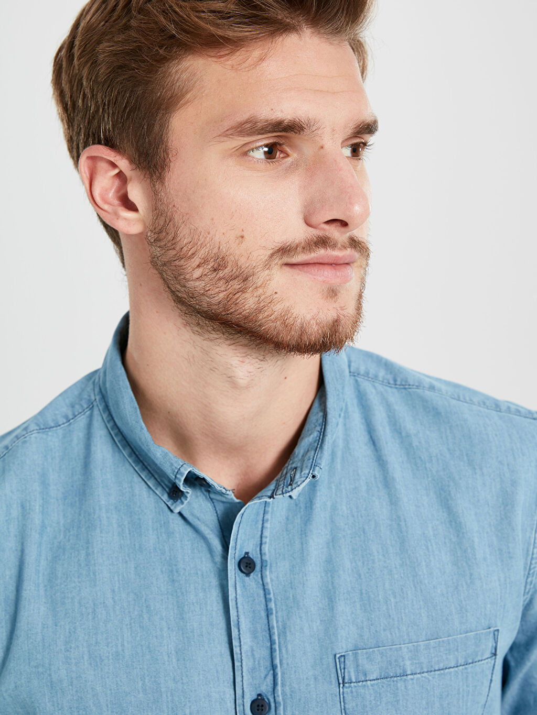 %100 Pamuk %100 Pamuk Standart Jean Düz Regular Fit Kısa Kollu Jean Gömlek