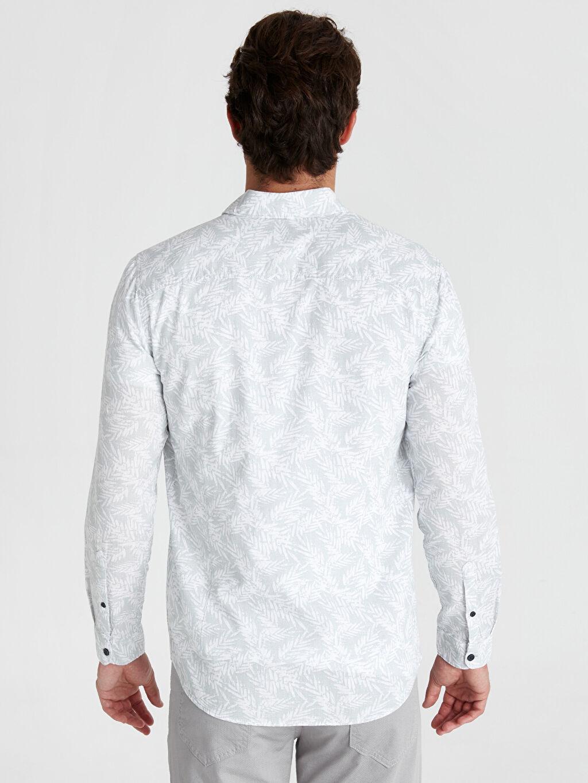 Erkek Regular Fit Çiçek Baskılı Uzun Kollu Poplin Gömlek