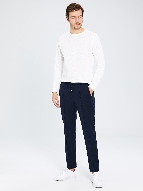 Lacivert Slim Fit Bilek Boy Poliviskon Pantolon 9SC541Z8 LC Waikiki
