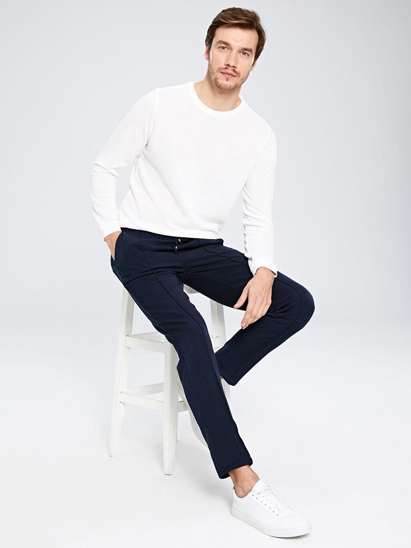%78 Polyester %17 Viskoz %5 Elastan Aksesuarsız Normal Bel Dar Pantolon Düz Gabardin Slim Fit Bilek Boy Poliviskon Pantolon