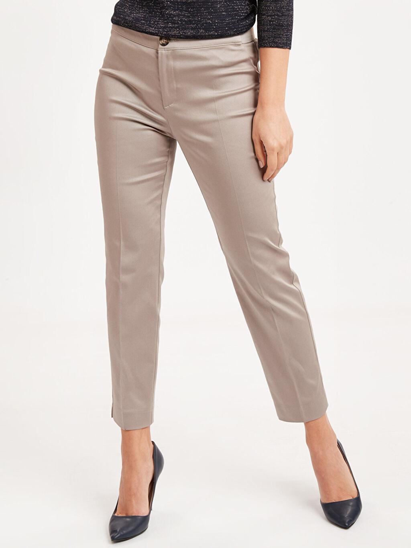 %68 Pamuk %28 Polyester %4 Elastan Düz Bilek Boy Saten Standart Normal Bel Pantolon Bilek Boy Kumaş Pantolon