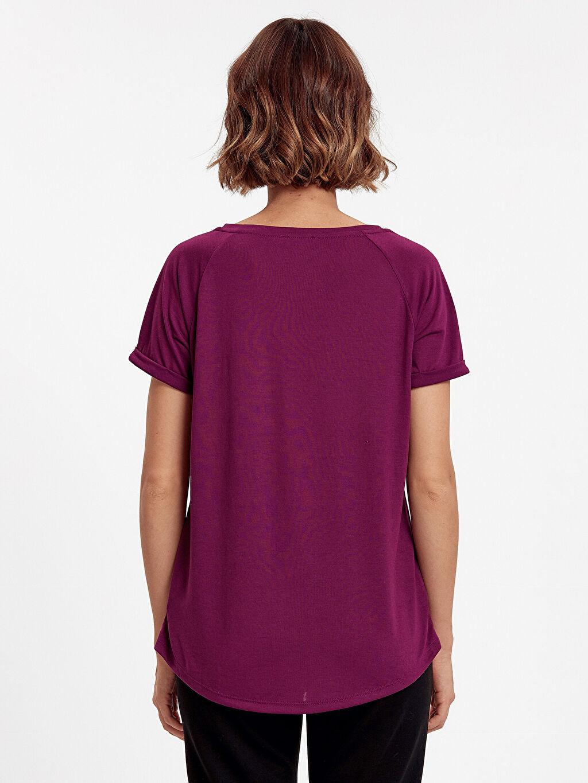 %52 Pamuk %48 Polyester Standart Tişört V Yaka Kısa Kol Düz Cep Detaylı Düz Basic Tişört