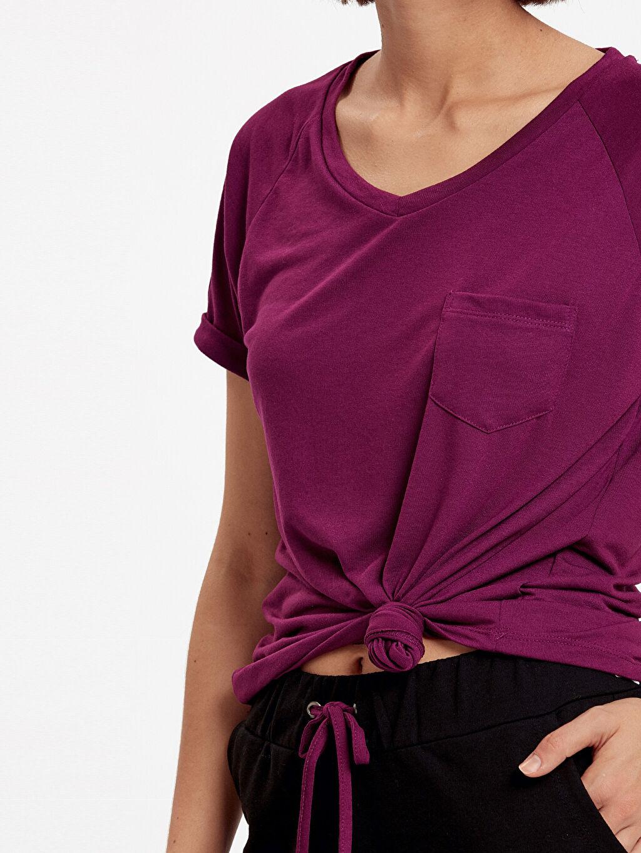 %52 Pamuk %48 Polyester Cep Detaylı Düz Basic Tişört