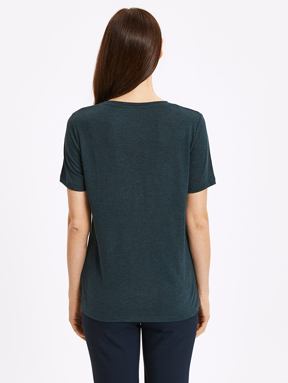 %68 Polyester %32 Viskon Standart Tişört V Yaka Kısa Kol Düz V Yaka Düz Salaş Tişört