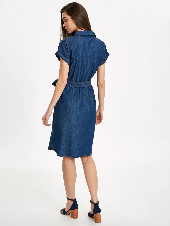 %100 Pamuk %100 Pamuk Kısa Kol Jean Elbise Düz Midi Standart Normal Bel Beli Bağlama Detaylı Jean Gömlek Elbise