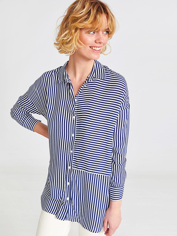 %100 Viskoz Uzun Kol Tunik Düğmeli Gömlek Yaka Düz İnce Çizgili Viskon Tunik