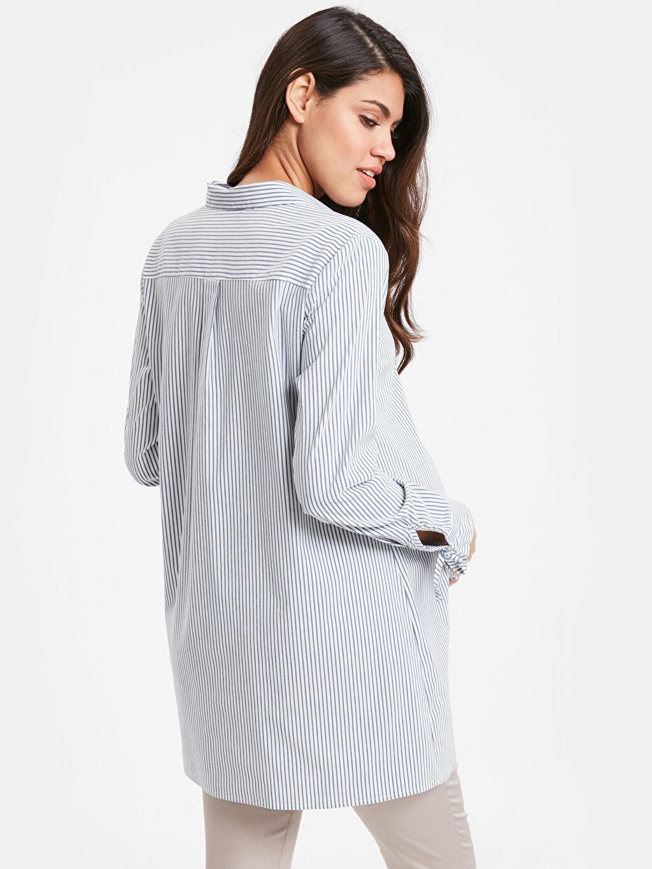 %66 Pamuk %30 Polyester %4 Elastan Tunik A Kesim Çizgili Gömlek Yaka Günlük Uzun Kol Çizgili Hamile Tunik