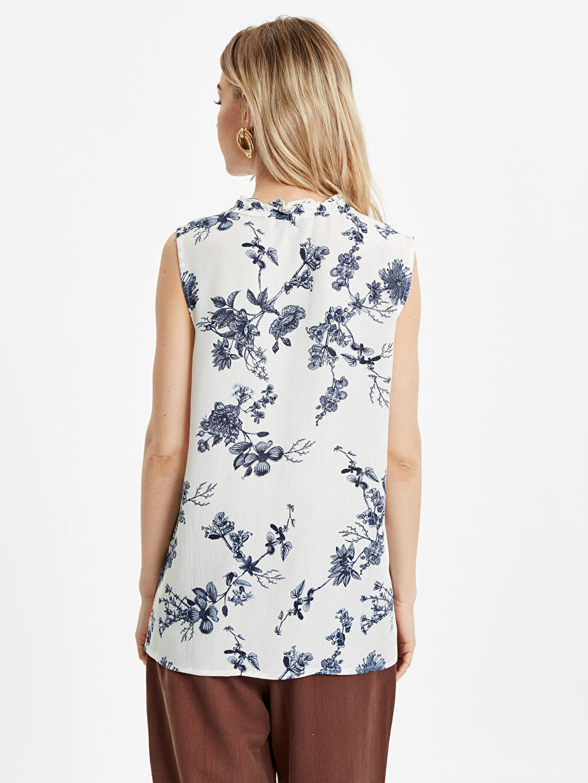 %100 Viskoz Kolsuz Uzun Pat Standart Baskılı Krinkle Bluz Gömlek Elbise Çiçek Desenli Viskon Bluz