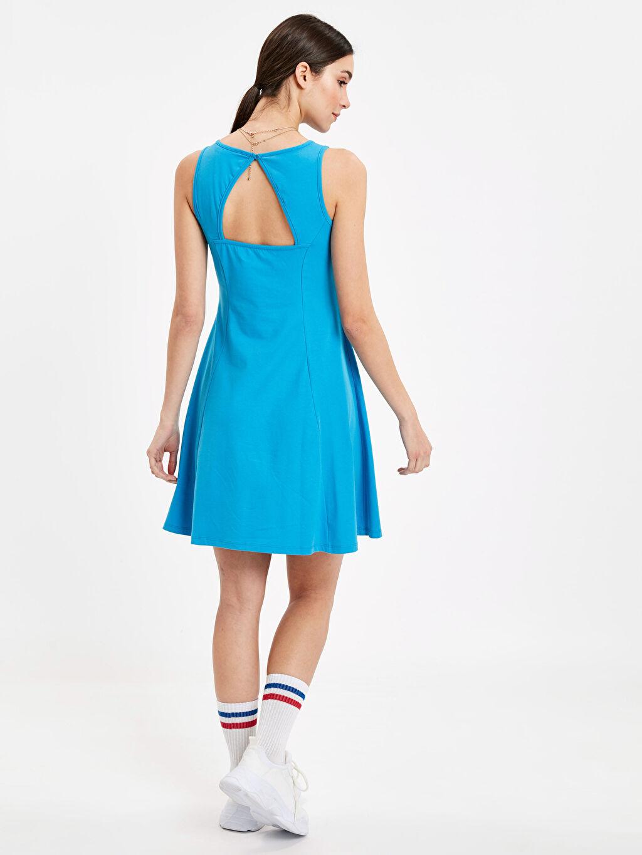 %97 Pamuk %3 Elastan Düz Parti Süprem Elbise Kısa Kolsuz Sırt Detaylı Pamuklu Elbise