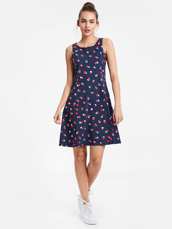 Lacivert Sırt Detaylı Pamuklu Elbise 9S9225Z8 LC Waikiki