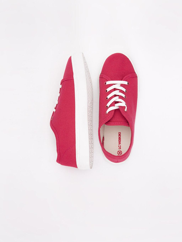 Tekstil malzemeleri Tekstil malzemeleri 2 cm Düz Sneaker Oval Burun Kısa Kadın Bağcıklı Spor Ayakkabı