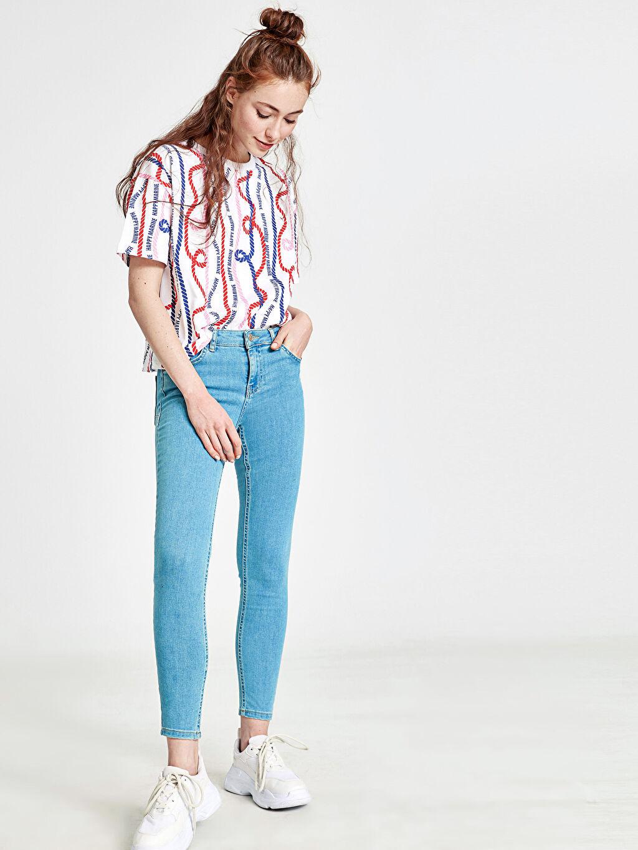 %81 Pamuk %17 Polyester %2 Elastan Standart Normal Bel Dar Jean Kalamış Bilek Boy Push Up Jean Pantolon