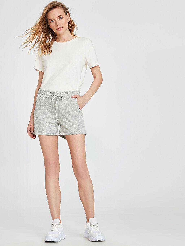%49 Pamuk %51 Polyester %100 Pamuk Şort Kısa Standart Normal Bel İnce Sweatshirt Kumaşı Beli Lastikli Pamuklu Şort