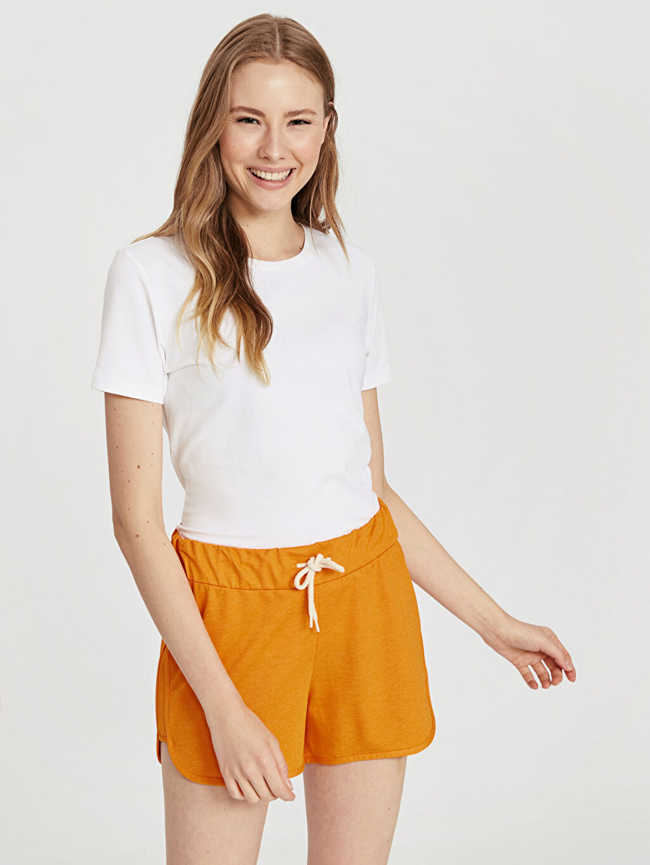 %50 Pamuk %50 Polyester Şort Kısa Standart Normal Bel İnce Sweatshirt Kumaşı Beli Lastikli Şort