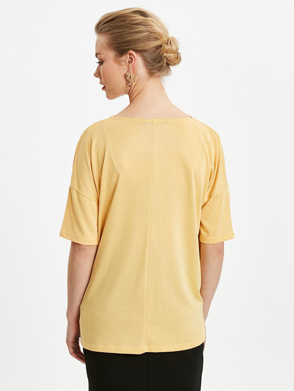 %38 Poliester %62 Modal Diğer Standart Tişört Kısa Kol Düz Standart Penye Dökümlü Yaka Detaylı Tişört