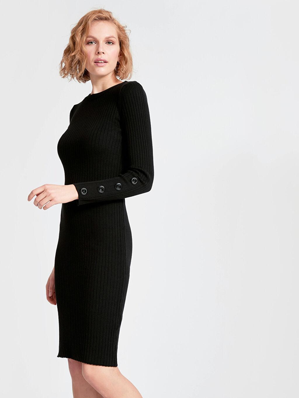 Siyah Kolları Düğme Detaylı İnce Triko Kalem Elbise 9SL130Z8 LC Waikiki