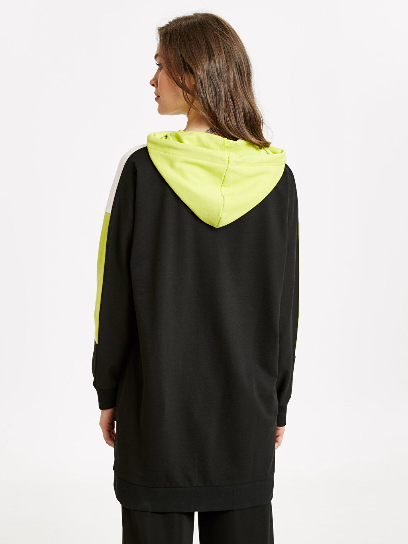 Kadın Neon Detaylı Kapüşonlu Spor Tunik