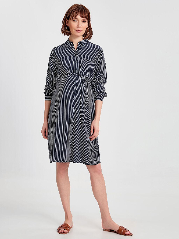 Lacivert Çizgili Hamile Gömlek Elbise 9SL639Z8 LC Waikiki