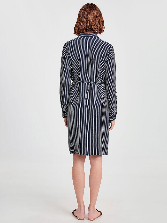 %100 Viskoz Elbise Uzun Kol Midi Gömlek Elbise Çizgili Gömlek Yaka Astarsız Günlük Çizgili Hamile Gömlek Elbise