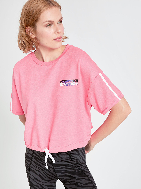 Pembe Neon Yazı Baskılı Spor Tişört 9SM046Z8 LC Waikiki