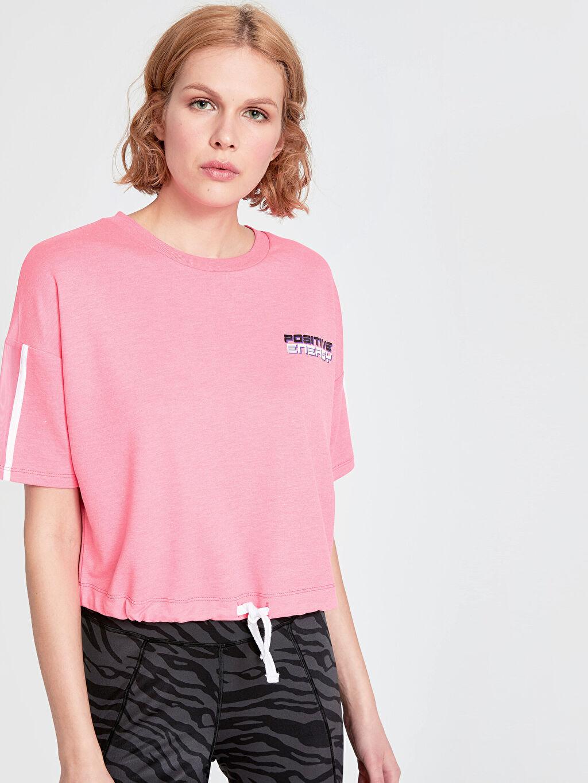 %65 Polyester %35 Viskon Penye Baskılı Tişört Bisiklet Yaka Kısa Kol Standart Standart Neon Yazı Baskılı Spor Tişört