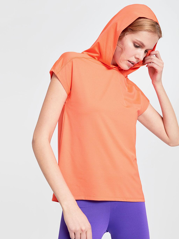 %89 Polyester %11 Elastan Penye Tişört Bisiklet Yaka Kısa Kol Düz Standart Standart Kapüşonlu Neon Spor Tişört