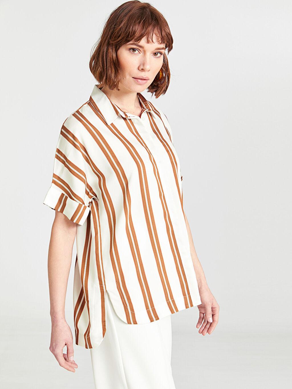 Kahverengi Çizgili Vual Gömlek 9SM116Z8 LC Waikiki