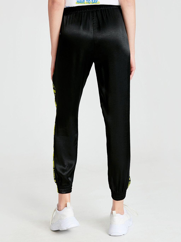%100 Viskoz Yanları Neon Şeritli Jogger Havuç Pantolon