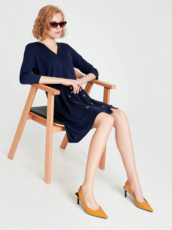 %25 Polyester %71 Viskoz %4 Elastan Casual Uzun Kol Düz Midi Elbise Kruvaze Yaka Düğme Detaylı Mini Elbise
