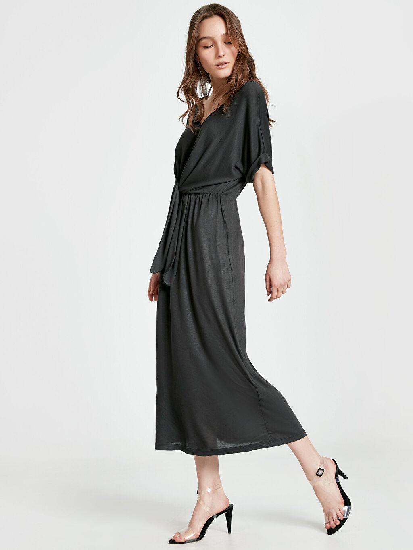 Antrasit Beli Bağlama Detaylı Salaş Elbise 9SN375Z8 LC Waikiki