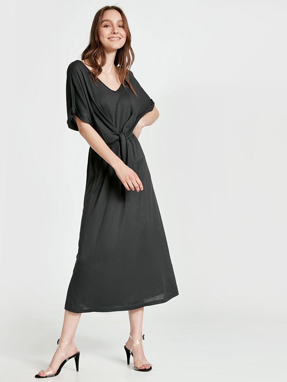 %100 Viskoz Elbise Düz Parti Uzun Kısa Kol Beli Bağlama Detaylı Salaş Elbise