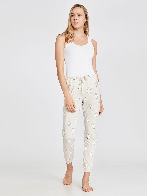 %51 Pamuk %49 Polyester Penye Standart İnce Pijama Alt Baskılı Uzun Desenli Jogger Pijama Alt