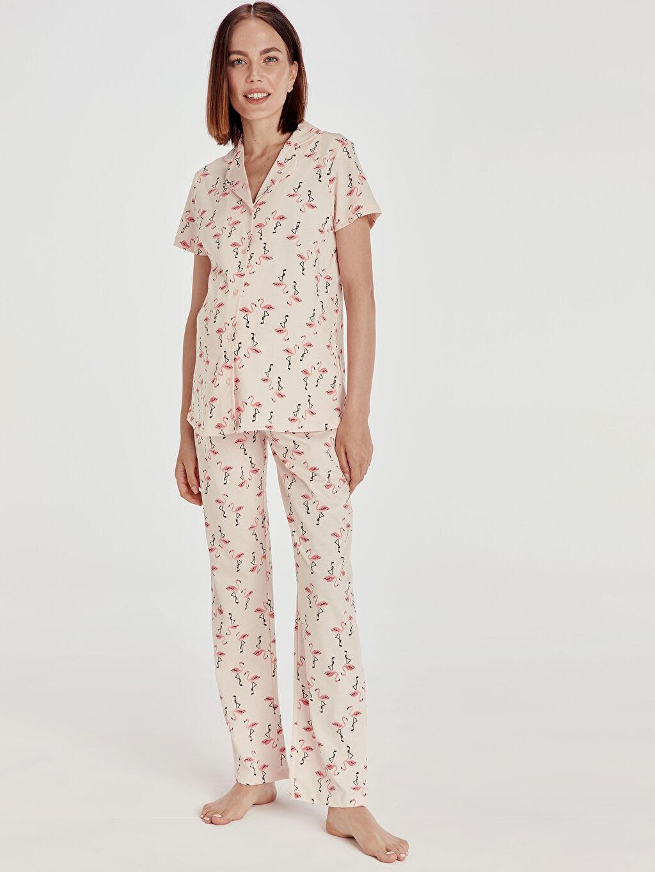 %100 Pamuk %100 Pamuk Düz Penye Standart Gömlek Yaka İnce Pijama Takım Uzun Kısa Kol Desenli Pamuklu Hamile Pijama Takımı