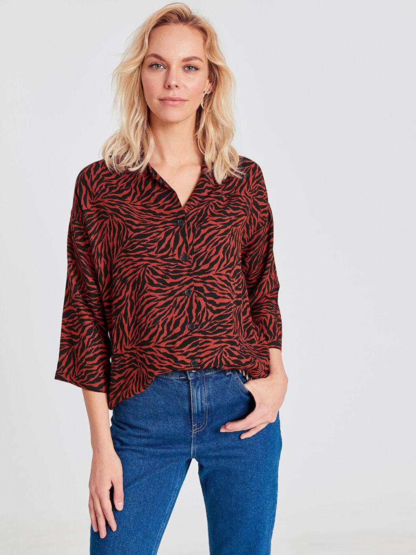 %100 Viskoz Baskılı 3/4 Boy Gömlek Elbise Gömlek Uzun Pat Standart Zebra Desenli Viskon Gömlek