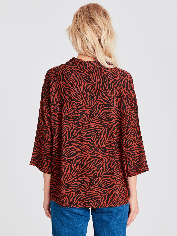 Kadın Zebra Desenli Viskon Gömlek