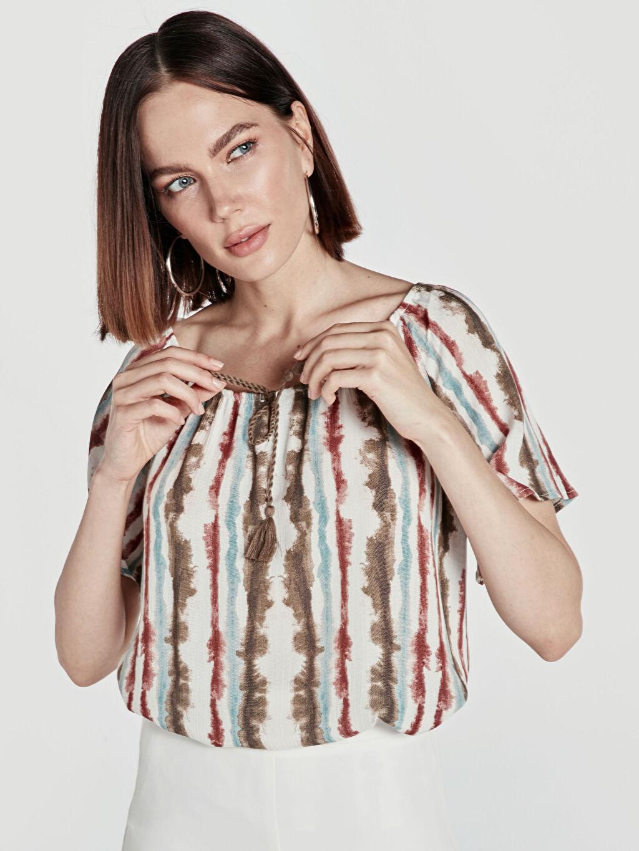 %100 Viskoz Standart Krinkle Kısa Kol Patsız Bluz Bluzan Çizgili Desenli Viskon Bluz