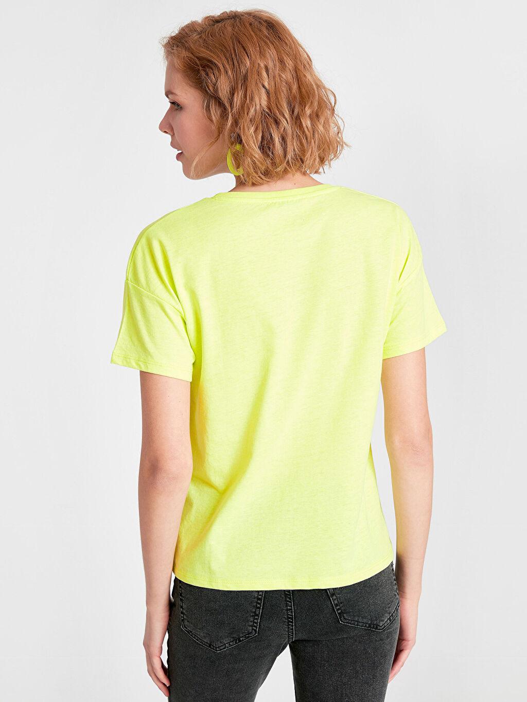 Kadın Baskılı Neon Tişört