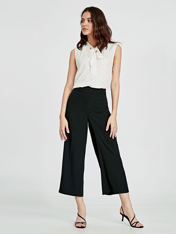 %100 Polyester Pantolon Geniş Paça Düz Bilek Boy Krep Yüksek Bel Bol Bilek Boy Geniş Paça Pantolon
